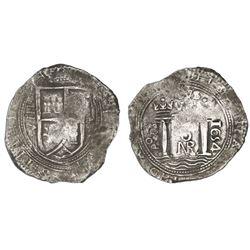 Bogota, Colombia, cob 8 reales, 1654, assayer PoRS.