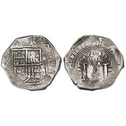 Bogota, Colombia, cob 8 reales, 1657, assayer PoRS.