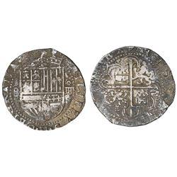 Seville, Spain, cob 4 reales, Philip II, assayer Gothic D at 4 o'clock outside tressure, fleur-de-li