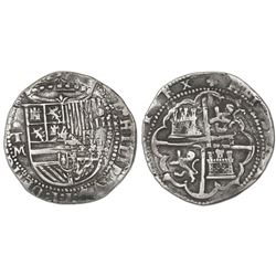 Toledo, Spain, cob 4 reales, Philip II, assayer M below mintmark oT to left.