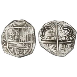 Granada, Spain, cob 2 reales, 1597 date to left (assayer F to right not visible), rare.