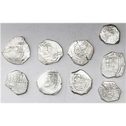 Lot of nine Spanish cob 2 reales, various mints and assayers (where visible).
