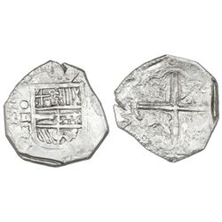 Valladolid, Spain, cob 2 reales, 1606(?), assayer oD above mintmark (four wavy lines) to left, OMNIV