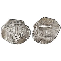 """Seville, Spain, cob 8 reales, Charles II, assayer not visible (M), """"Maria"""" type."""