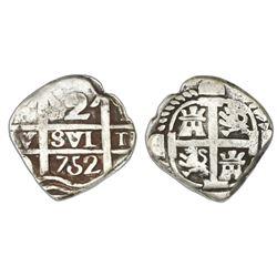 "Tucuman, Argentina, ""imitation cob"" 2 reales, date ""752"" (struck 1820-24), rare."