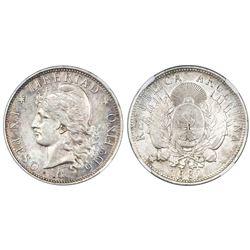 Argentina, 1 peso, 1882, NGC AU 58.