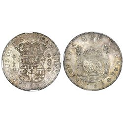 Potosi, Bolivia, pillar 8 reales, Charles III, 1769JR, round 9, no dot after king's name, NGC AU 53.