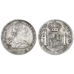 Potosi, Bolivia, bust 8 reales, Charles III, 1778PR.
