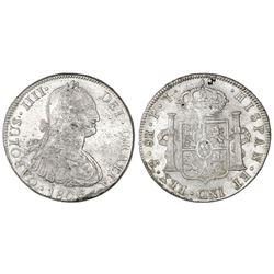 Potosi, Bolivia, bust 8 reales, Charles IV, 1806PJ.