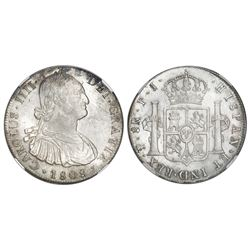 Potosi, Bolivia, bust 8 reales, Charles IV, 1808PJ (struck 1808-13), NGC MS 62.