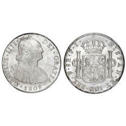 Potosi, Bolivia, bust 8 reales, Charles IV, 1808PJ (struck 1808-13). NGC MS 61.