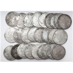 Large lot of 26 Potosi, Bolivia, bust 8 reales, Charles IV, 1808PJ (struck 1808-13).