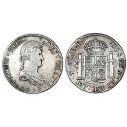 Potosi, Bolivia, bust 8 reales, Ferdinand VII, 1808PJ (struck in 1813).