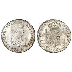 Potosi, Bolivia, bust 8 reales, Ferdinand VII, 1822PJ.