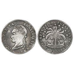 La Paz, Bolivia, 4 soles, 1858P, rare.