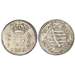 Brazil (Rio mint), 600 reis, Jose I, 1756-R. NGC VF 25.