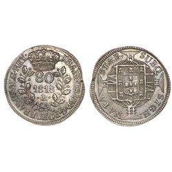 Brazil (Rio mint), silver 80 reis, Joao VI, 1818-R, NGC AU 58.