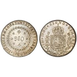 Brazil (Rio mint), 960 reis, Pedro I, 1824-R, struck over a Spanish colonial bust 8 reales, NGC MS 6