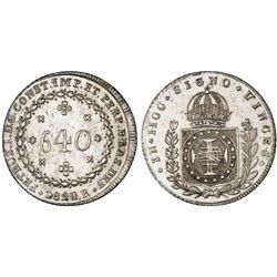 Brazil (Rio mint), 640 reis, Pedro I, 1824/3-R, NGC AU 58.