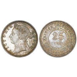 British Honduras, 25 cents, 1897, Victoria, NGC AU 58.