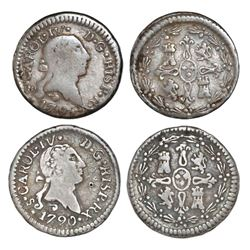 Lot of two Santiago, Chile, 1/4R of Charles IV (bust of Charles III): 1790, 1791/0.