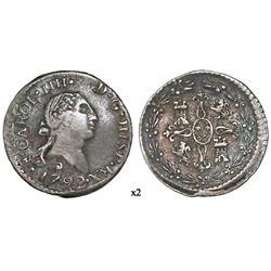 Santiago, Chile, bust 1/4 real, Charles IV (bust of Charles III, ordinal IIII), 1792, NGC VF 30, fin