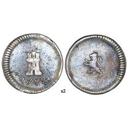 Santiago, Chile, 1/4 real, 1792, no assayer or mintmark, NGC VF 25.