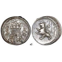 Santiago, Chile, 1/4 real, Ferdinand VII, 1814, NGC XF 40.