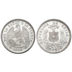 Santiago, Chile, 1 peso, 1886, NGC MS 61.