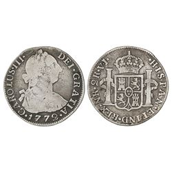 Bogota, Colombia, bust 2 reales, Charles III, 1772VJ, dots between N and R and V and J, rare.