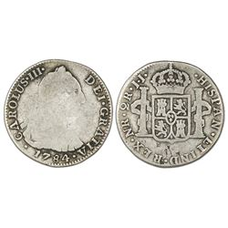 Bogota, Colombia, bust 2 reales, Charles III, 1784JJ, rare.