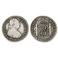 Popayan, Colombia, bust 2 reales, Ferdinand VII (bust of Charles IV), 1811/0JF.