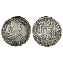 Bogota, Colombia, bust 1 real, Charles IV, 1795JJ, no dot between N and R, ex-Ortiz Murias.