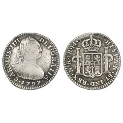 Bogota, Colombia, bust 1 real, Charles IV, 1797JJ.