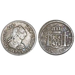 Popayan, Colombia, bust 1/2 real, Charles III, 1774JS, NGC F 15.