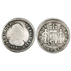 Bogota, Colombia, bust 1/2 real, Ferdinand VII (bust of Charles IV), 1810JJ with 8/8 in date.