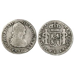 Bogota, Colombia, bust 1/2 real, Ferdinand VII (bust of Charles IV), 1816FJ.