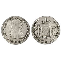 Bogota, Colombia, bust 1/2 real, Ferdinand VII (bust of Charles IV), 1818FJ.