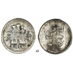 Popayan, Colombia, 1/4 real, 1816/27, mintmark PN, rare, NGC XF details / corrosion, finest and only