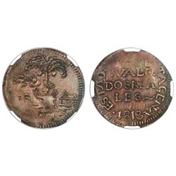 Cartagena, Colombia, copper 2 reales, 1813, NGC AU 50 BN.