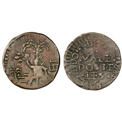 Cartagena, Colombia, copper 2 reales, 18(13-14).
