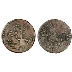 Cartagena, Colombia, copper 2 reales, 18(13-14).