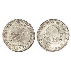 Bogota (Cundinamarca), Colombia, 1 real, 1821JF, dot below A of mintmark.