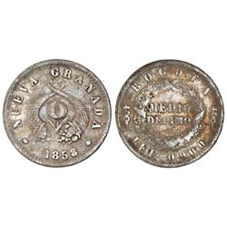 Bogota, Colombia, 1/2 decimo, 1858/4, NGC XF 40.