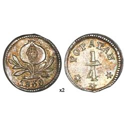 Popayan, Colombia, 1/4 real, 1850.