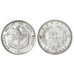 Bogota, Colombia, 1 peso, 1861, PCGS AU detail / cleaned, ex-Eldorado.