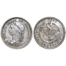 Bogota, Colombia, 1 peso, 1871.