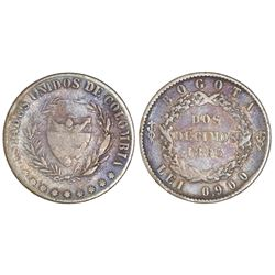 Bogota, Colombia, 2 decimos, 1865, 0.900 fineness, NGC F 12, finest and only example in NGC census.