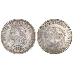Medellin, Colombia, 5 decimos, 1869, NGC VF 30.