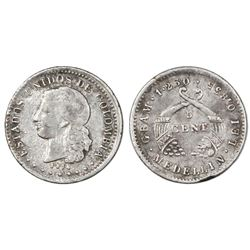 Medellin, Colombia, 5 centavos, 1874, Barre bust.
